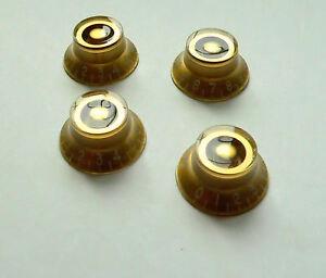 gold skirted top hat speed knob for gibson les paul guitar set of 4 knobs ebay. Black Bedroom Furniture Sets. Home Design Ideas