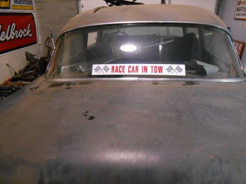 RACE CAR IN TOW WINDOW DECAL STICKER RAT ROD GASSER SUPER STOCK WILLYS ANGLIA