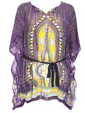 """eaonplus PURPLE Batik & Tie Dye Print Cover Up Kaftan - Size XXL (Bust to 76"""")"""
