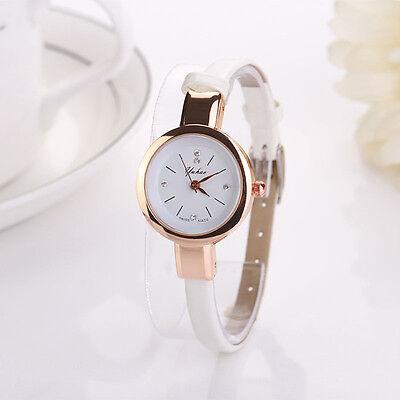 Fashion Women Dress Watch Round Analog Quartz Wristwatch Leather Bracelet Watch