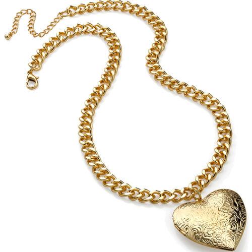 Grabado acabado chapado en oro corazón con bisagras medallón Cadena Gargantilla Collar Colgante