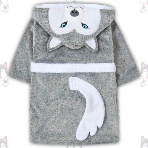Kids Infant Boys Hood Husky Design Dressing Gown Robe Bathrobe Novelty Grey Dog