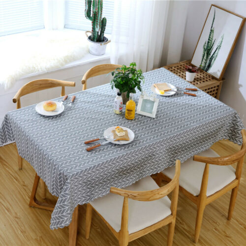 Wipe Clean Cotton Flax Tablecloth Dining Kitchen Table Cover Protector 135x200cm