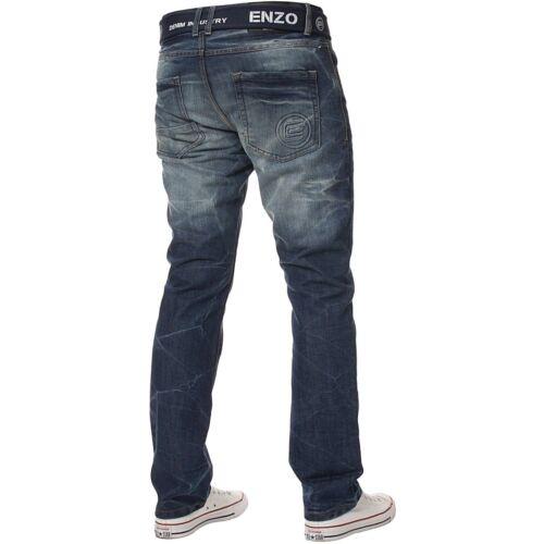Enzo Uomo Straight Leg Jeans Regular Fit Denim-PANTALONI grande re vita tutti