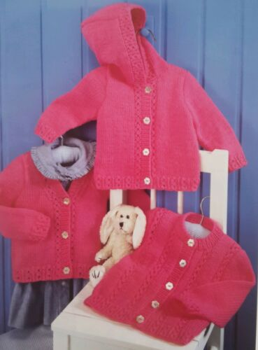 KNITTING PATTERN FOR BABY/'S//CHILD/'S CARDIGANS X 3-0-3 mths B188 6 yrs
