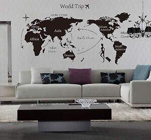 World Trip Travel Map Wall Stickers Art Vinyl Decal Home