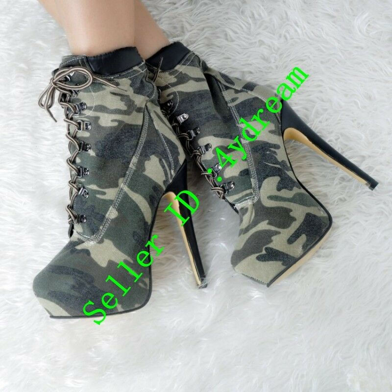 Women Lace up Stilettos Stilettos Stilettos High Heel Ankle Boots Retro Camouflage Sexy shoes Size 7cc585