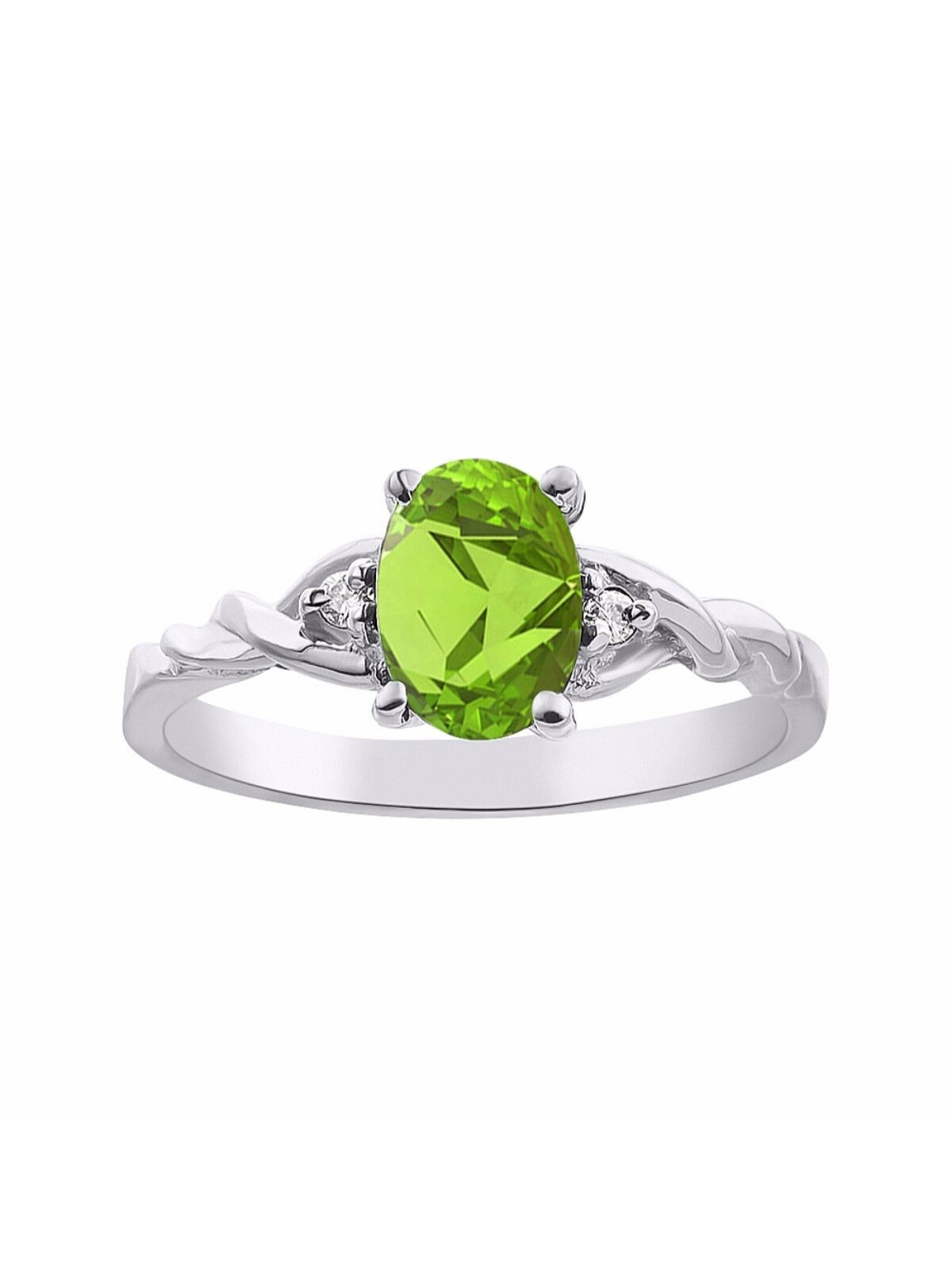 Diamond & Peridot Ring Set In 14K White gold Solitaire LR5987PEW-D