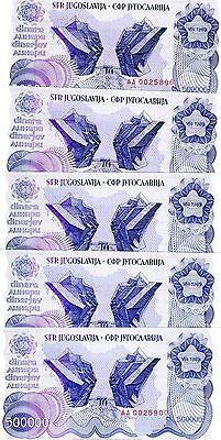 LOT Yugoslavia, 5 x 500,000 (5000000) Dinara, 1989, Pick 98, AA-Prefix, UNC