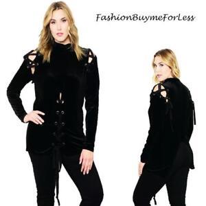 PLUS-Gothic-Black-Velvet-Renaissance-Medieval-Pirate-Lace-Up-Shirt-Top-1X-2X-3X