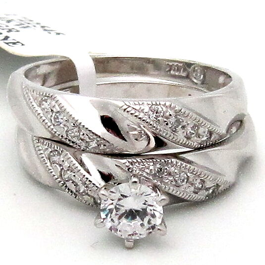 Bridal Ring Set 14K White gold Cubic Zirconia 0.95TCW Solitaire 1 Accents Wavey
