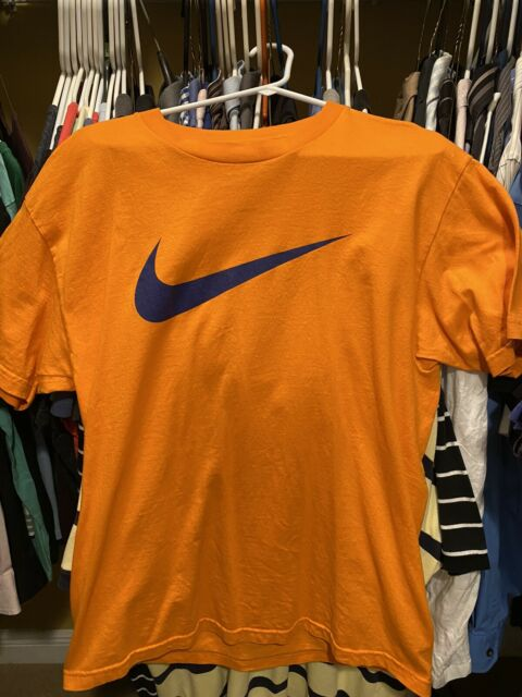 Nike Orange Blue Swoosh Large L Shirt Jordan Kobe Lebron Knicks Mets Islanders