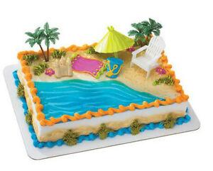 Image Is Loading Beach Chair Umbrella Tropical Hawaii Cake Decoration Decoset