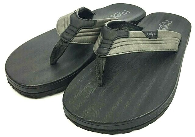 Flojos Men/'s Memory Foam Thongs Flip Flops Sandals Grey Black