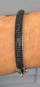 Certified-Genuine-4-53ct-Black-Spinel-Sterling-Silver-Oval-Bangle-Bracelet