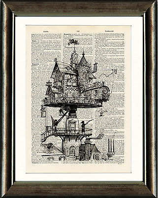 Antique Book page Art Print - Aerial House  Upcycled Vintage Print Steampunk