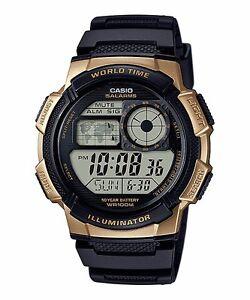 AE-1000W-1A3-Black-Gold-Casio-Men-039-s-Watch-Standard-Digital-Black-10-Year-Battery