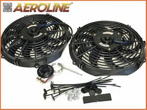 12 aeroline 120w radiateur lectrique 12v ventilateur de refroidissement x 2 ebay. Black Bedroom Furniture Sets. Home Design Ideas