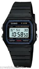 Casio F91W-1 Classic Black Resin Band Alarm Chronograph Digital Watch