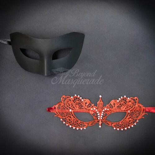 M0601 M7344 Couple Masquerade Mask Set Masquerade Couples Lace Black Red