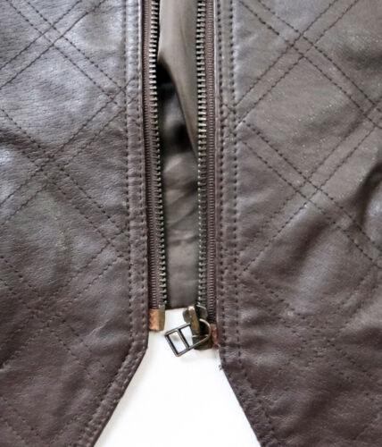 Patchwork cuir XL 1x matelassé 18 Gilet en marron Chocolat 2x Biker 20 zippé xaqzS