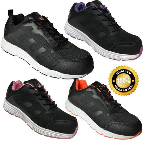 Homme Femme en Cuir Baskets De Sécurité Chaussures De Travail En Acier Orteil Casquette Cheville Maille UK