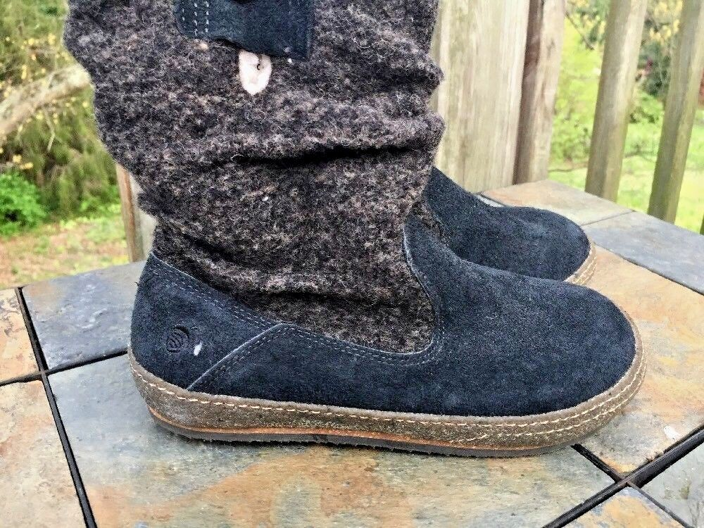 ACORN Faux Wool Boots Loafers Fuzzy Fur Casual Comfort Slippers Women Shoes Sz 6