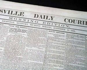 Rare-PRO-CONFEDERATE-Louisville-KY-Kentucky-1861-Civil-War-in-1ST-YEAR-Newspaper