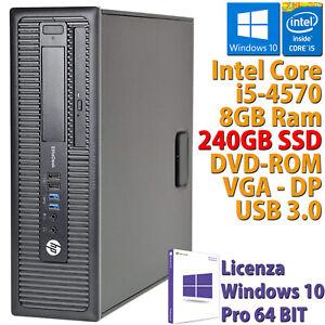 PC COMPUTER DESKTOP FISSO HP RICONDIZIONATO CORE i5-4570 RAM 8GB SSD 240GB WIN10