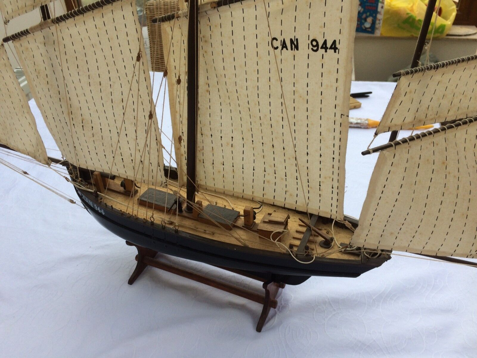 Hand made wooden sailing ship - Les Trois Cancale CAN 944, 3 masts, fabric sails