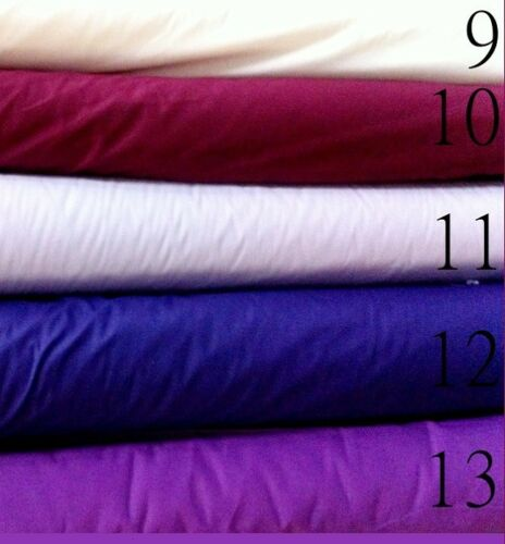 """BROADCLOTH APPAREL FABRIC SOLID COTTON POLYESTER BLEND 60/"""" 27 COLORS BY THE YARD"""