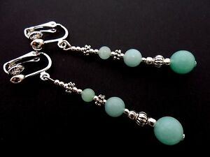 A PAIR TIBETAN SILVER BLUE JADE  BEAD  EXTRA LONG CLIP ON   EARRINGS NEW.