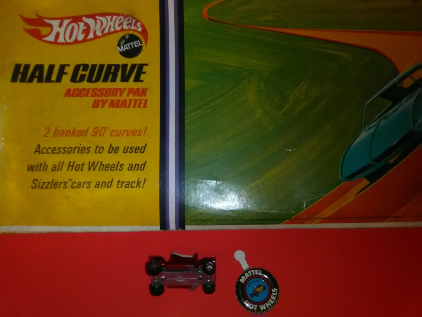 1968 HOT WHEELS rotLINE HOT HEAP rot C9+ USA w Button, box Half Curve MISB