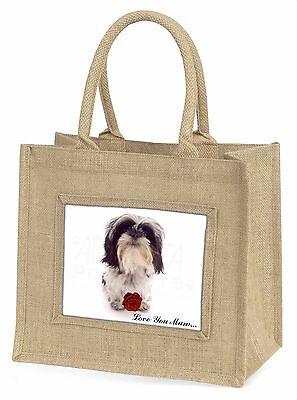 Shih Tzu mit Rosé 'Liebe, die Sie Mama' Große Natürliche Jute-einkaufstasche,