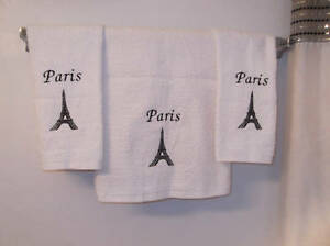 Embroidered-PARIS-EIFFEL-TOWER-Set-of-3-Bath-Hand-Towels