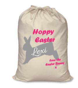 Personnalisé Enfants Nom Hoppy Easter paillettes Bunny Rabbit Oeuf TRAITE Sack Sac