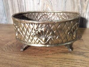 Antique-Pressed-Metal-Footed-Planter-Repousse-Ornate-Trinket-Or-Fruit-Basket-C9