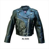 Ladies Black Leather Classic Motorcycle Biker Jacket