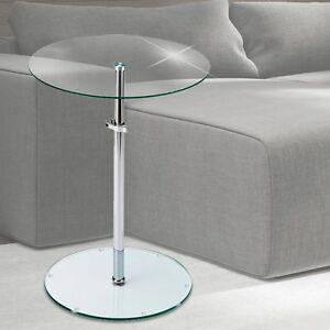Klar-Glas-Beistell-Tisch-Platte-rund-Dielen-Ablage-Flaeche-hoehenverstellbar-Chrom