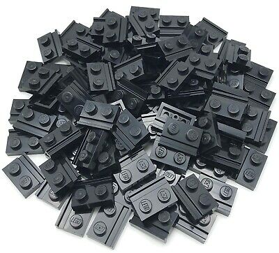 LEGO LOT OF 100 BLACK PLATES MODIFIED 1 X 2 WITH CLIPS HORIZONTAL PIECES
