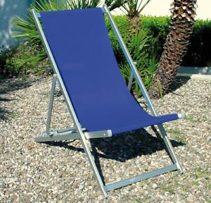 Sedia A Sdraio Alluminio.Sedia Poltrona Sdraio Alluminio Anodizzato 22mm Blu Telo Texilene