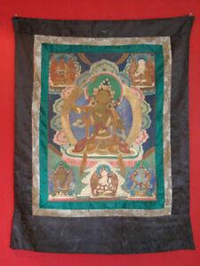 Antik-Original-Thanka-Asiatika-Tibet-Thangka-handbemalt