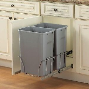 In Cabinet Pull Out Trash Can Recycling Psw15 2 35 R P Kitchen Plastic