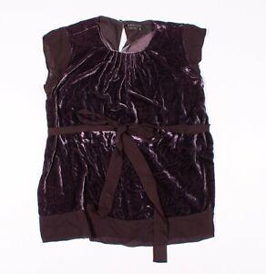 BCBG MAXAZRIA Purple Silk Velvet Chiffon Trim Tie Waist Blouse Top Size XS