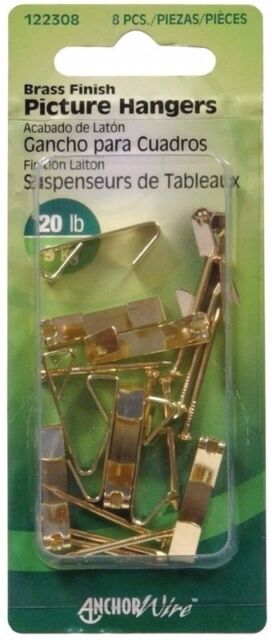 Hillman AnchorWire 10 lb 6 New Steel Push Pin Picture Hook 3 pk Brass 122212