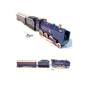 CLOCKWORK-STEAM-TRAIN-WITH-TENDER-amp-PASSENGER-CARRIAGE-TIN-TOY-LMS-COLLECTIBLE