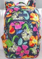 Vera Bradley Large Backpack Book Bag - Jazzy Blooms - Padded Section - Brand