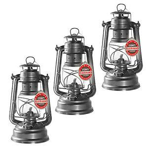 3x FEUERHAND® NIER hurricane lantern 276 galvanized, original one from Germany