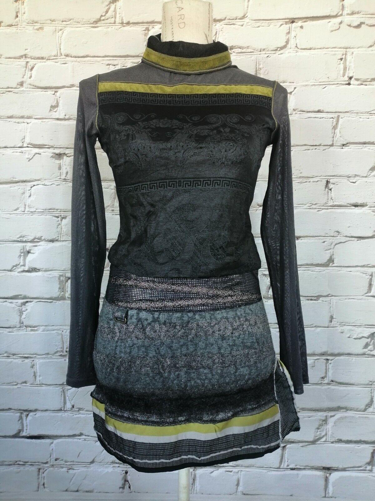 BEATE HEYMANN STREECOUTURE Set Outfit Kombination Rock Oberteil Gr.D34 XS-S grau