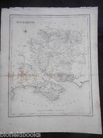 Original Antiquarian Map of Southampton (Hampshire) c1831 - Inc Isle of Wight